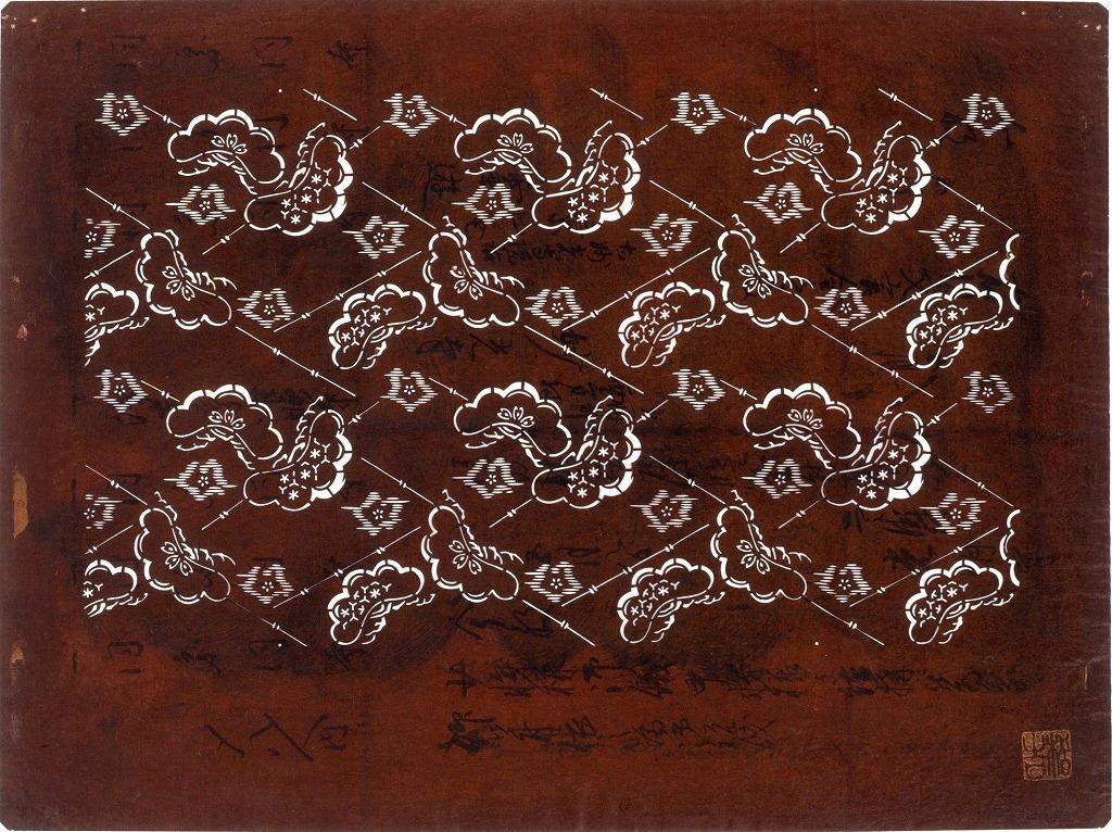 作品画像:長板中形型紙 松に絣模様