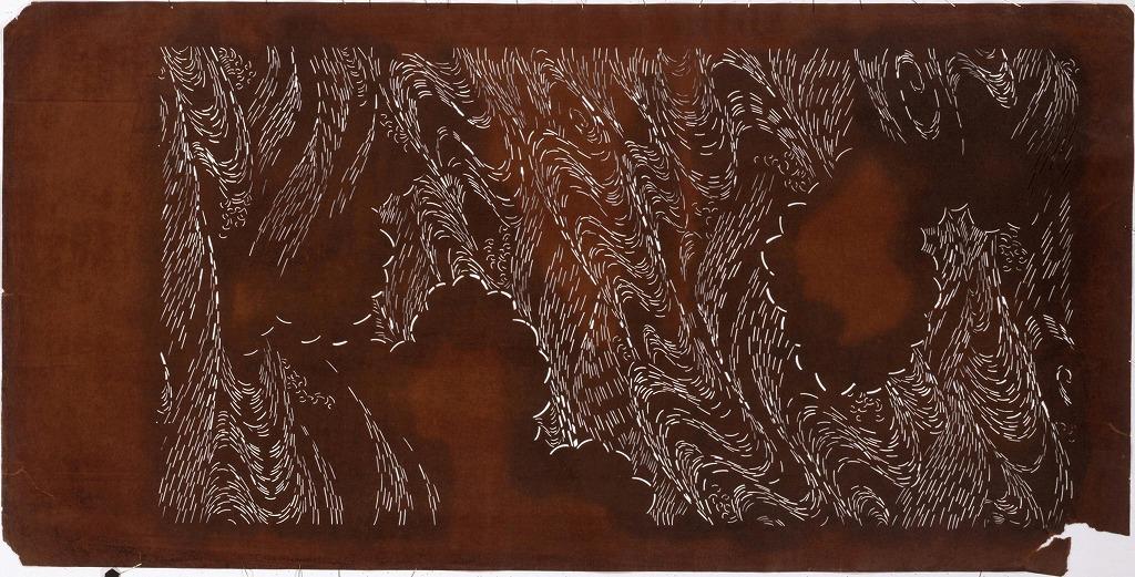 作品画像:長板中形型紙 雲取に流水(大判 追掛)