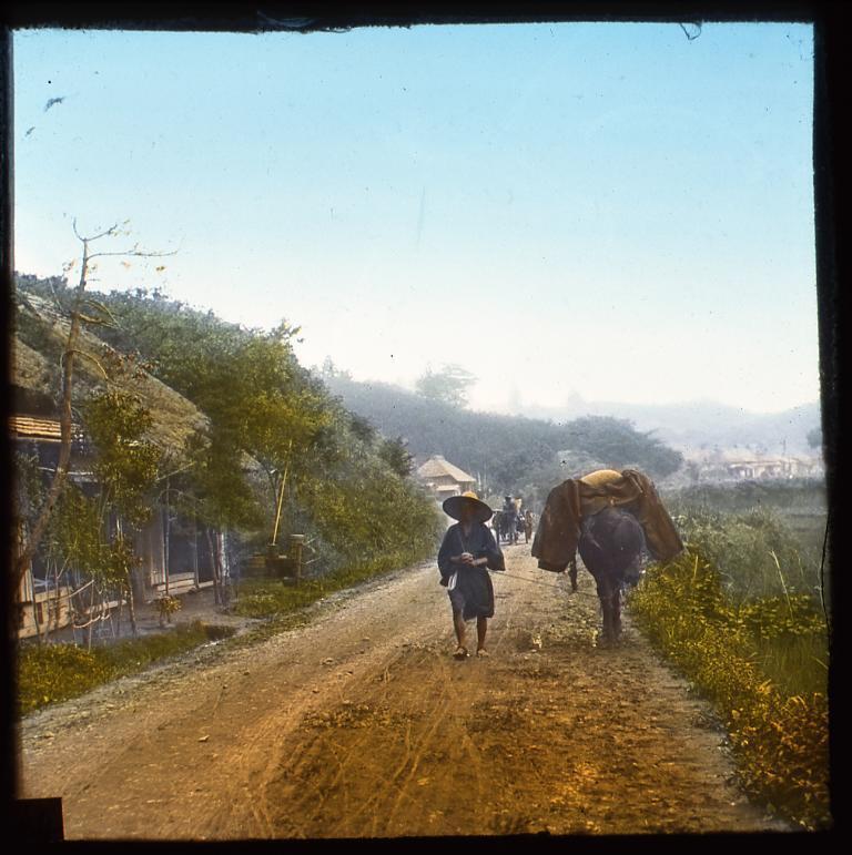 作品画像:街道を行く馬子と馬