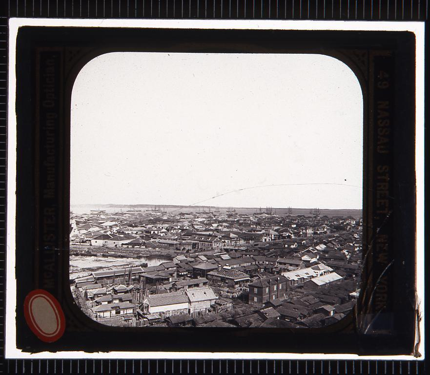 作品画像:横浜の展望(幻燈原板)