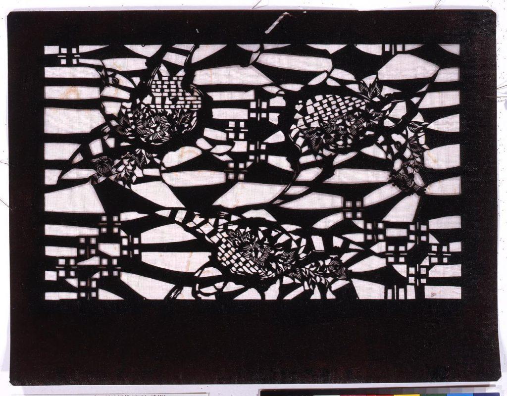 作品画像:長板中形型紙 雀に鎌倉模様(小判 追掛)