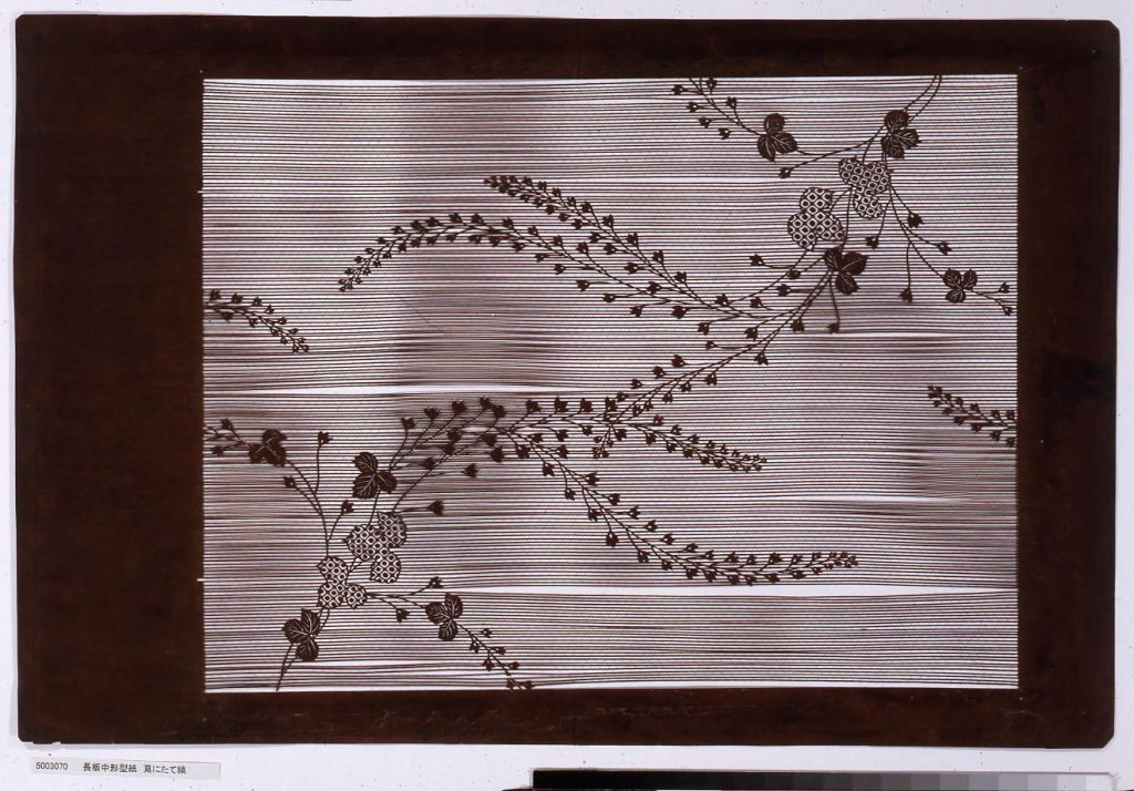 作品画像:長板中形型紙 蔦にたて縞