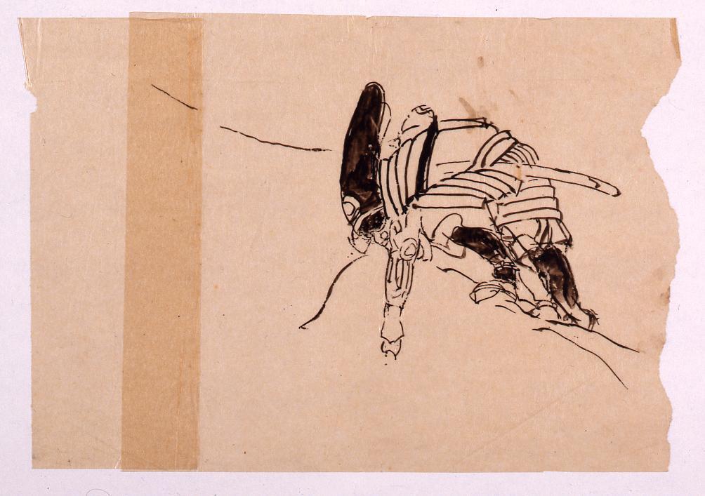 作品画像:下絵 甲冑を着た猿