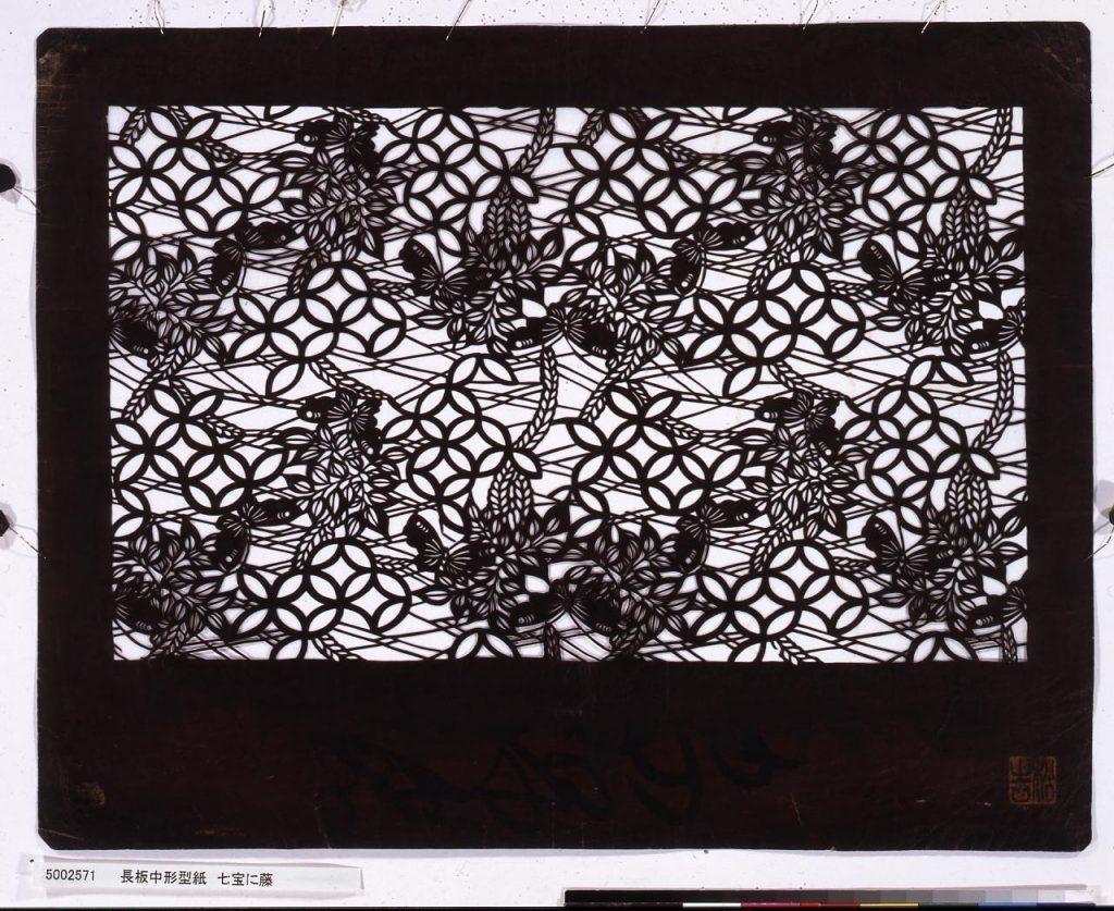 作品画像:長板中形型紙 七宝に藤