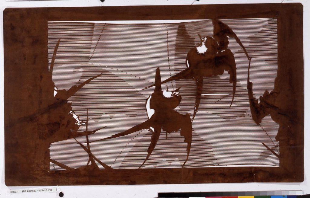 作品画像:長板中形型紙 つばめにたて縞