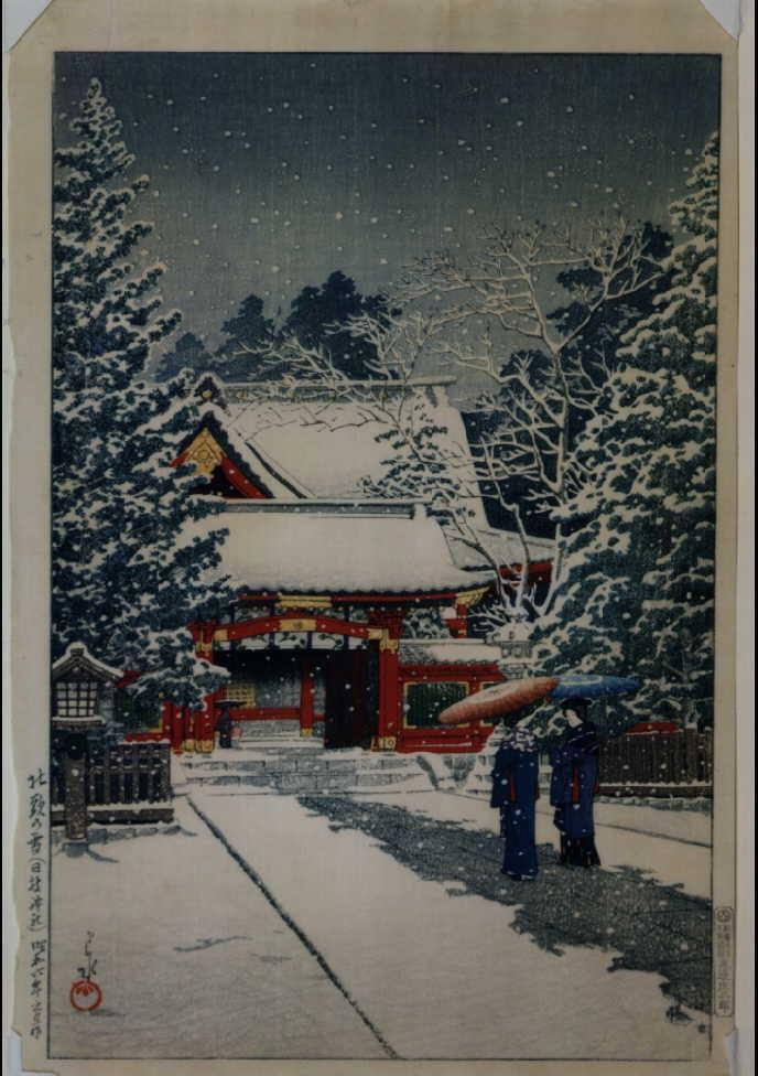 作品画像:社頭の雪(日枝神社)