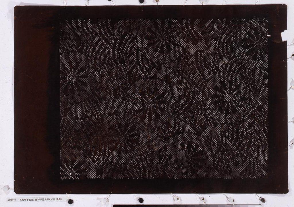作品画像:長板中形型紙 鹿の子源氏車(大判 追掛)