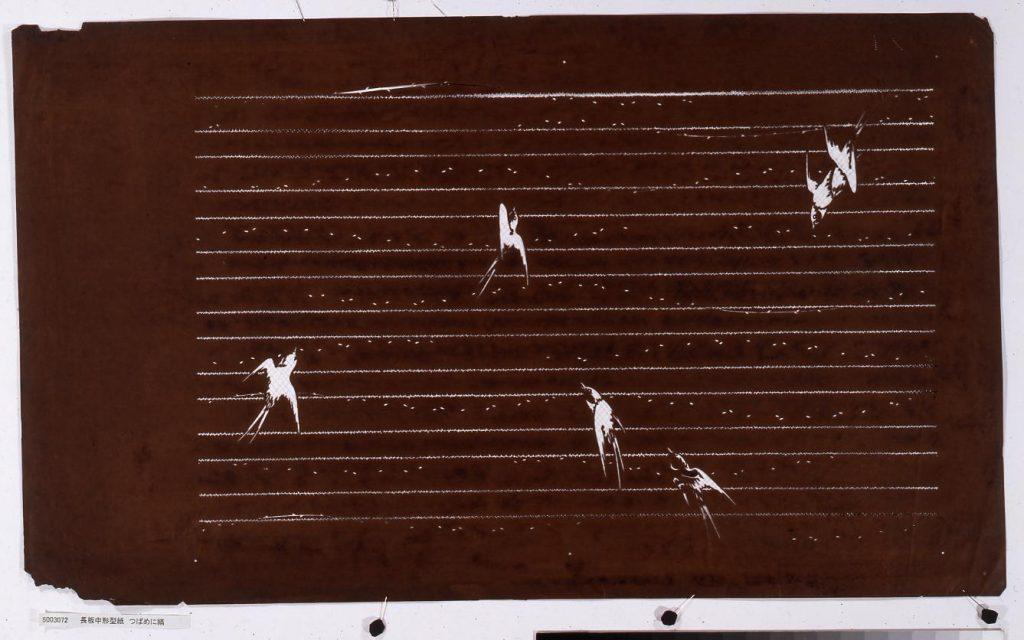 作品画像:長板中形型紙 つばめに縞