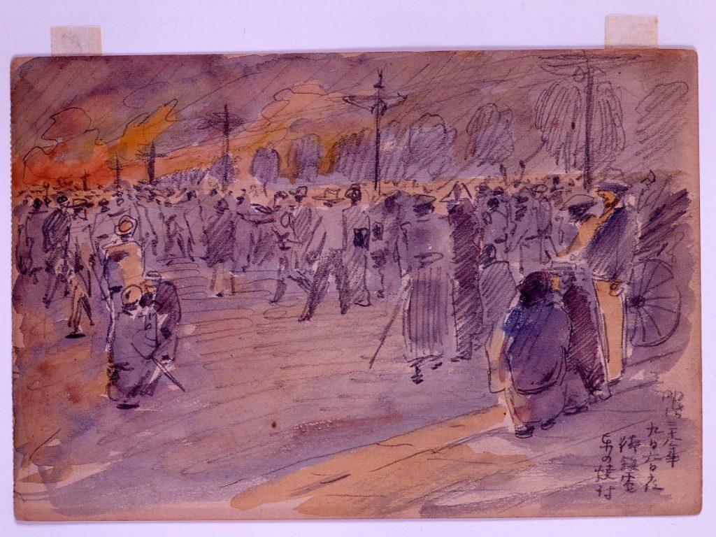 作品画像:日比谷焼打事件スケッチ 明治三十八年九月六日夜街鉄電車の焼打
