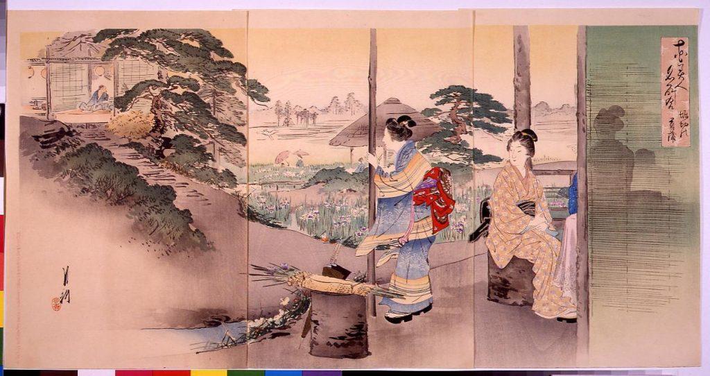 作品画像:花美人名所合 堀切の菖蒲