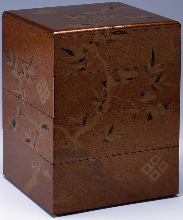 作品画像:橘竹四ツ目結紋蒔絵重箱