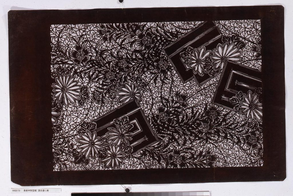作品画像:長板中形型紙 源氏香に菊