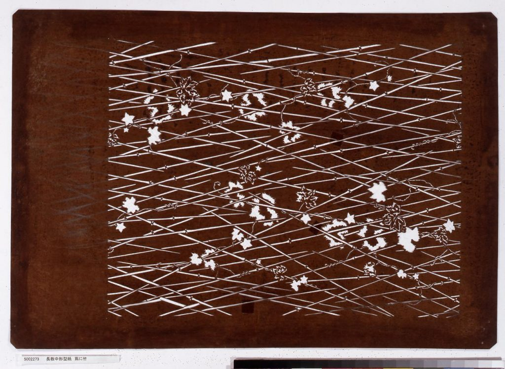 作品画像:長板中形型紙 蔦に竹