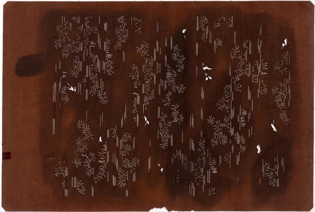 作品画像:長板中形型紙 霞に鳥(大判 追掛)