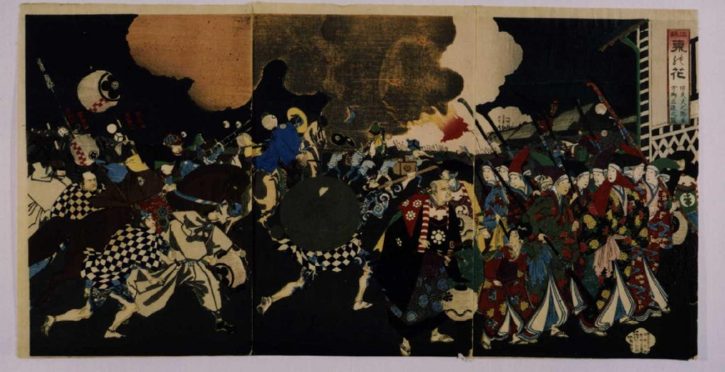 作品画像:温故東の花・旧失火之際奥方御立退之図