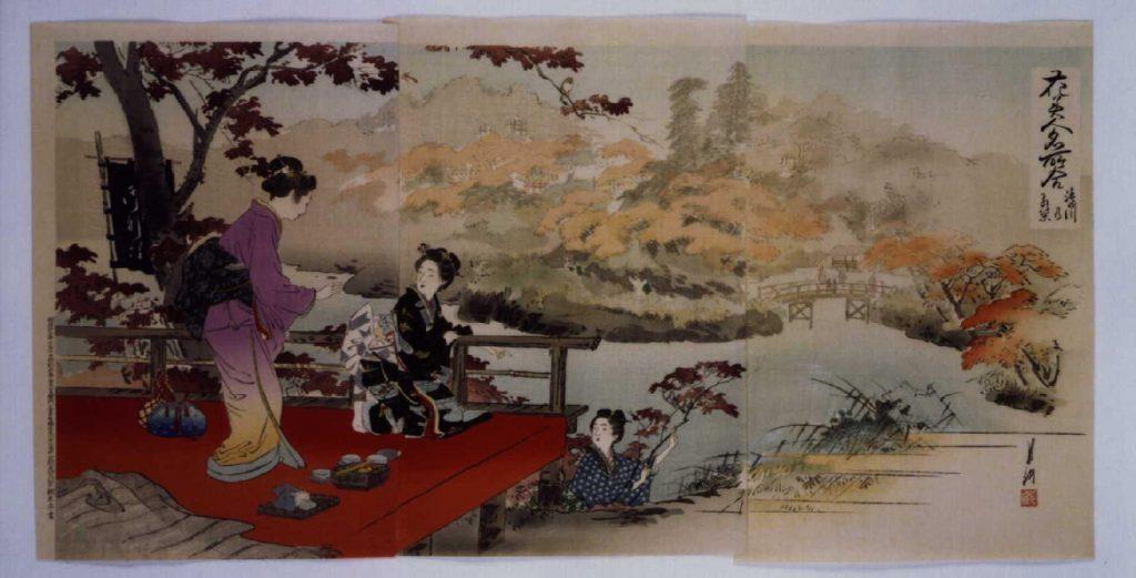 作品画像:花美人名所合 滝の川乃紅葉