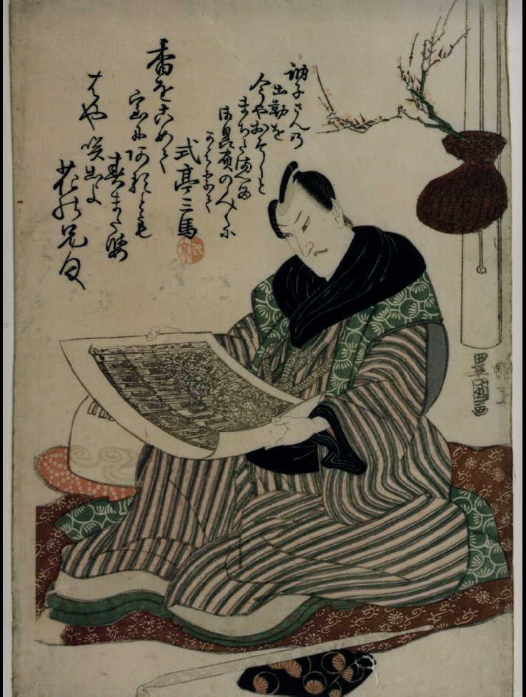 作品画像:四代目沢村宗十郎(顔見世番付を見る図)