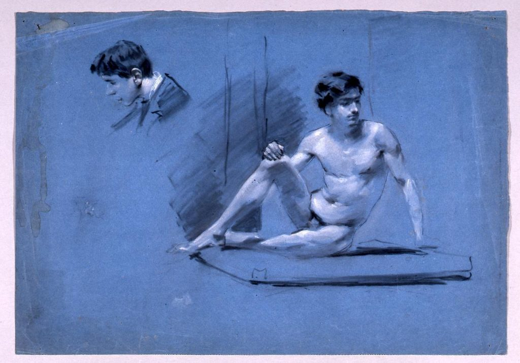 作品画像:素描  座る男習作
