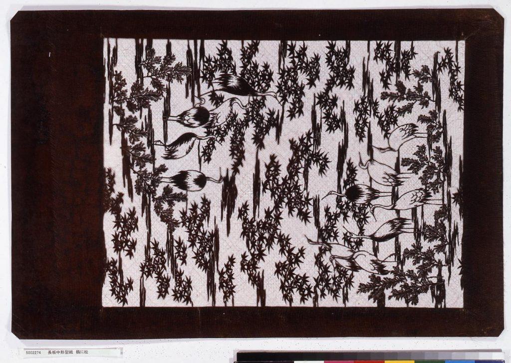 作品画像:長板中形型紙 鶴に松