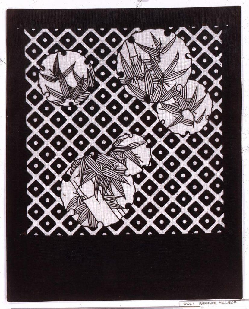 長板中形型紙 竹丸に鹿の子