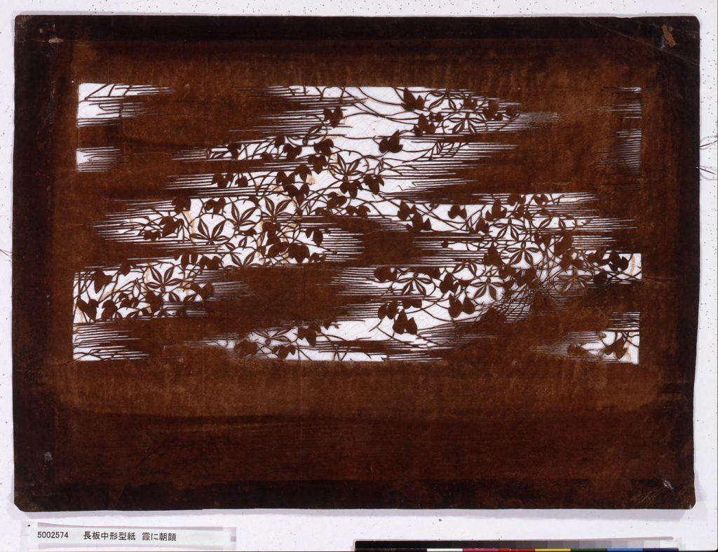 作品画像:長板中形型紙 霞に朝顔