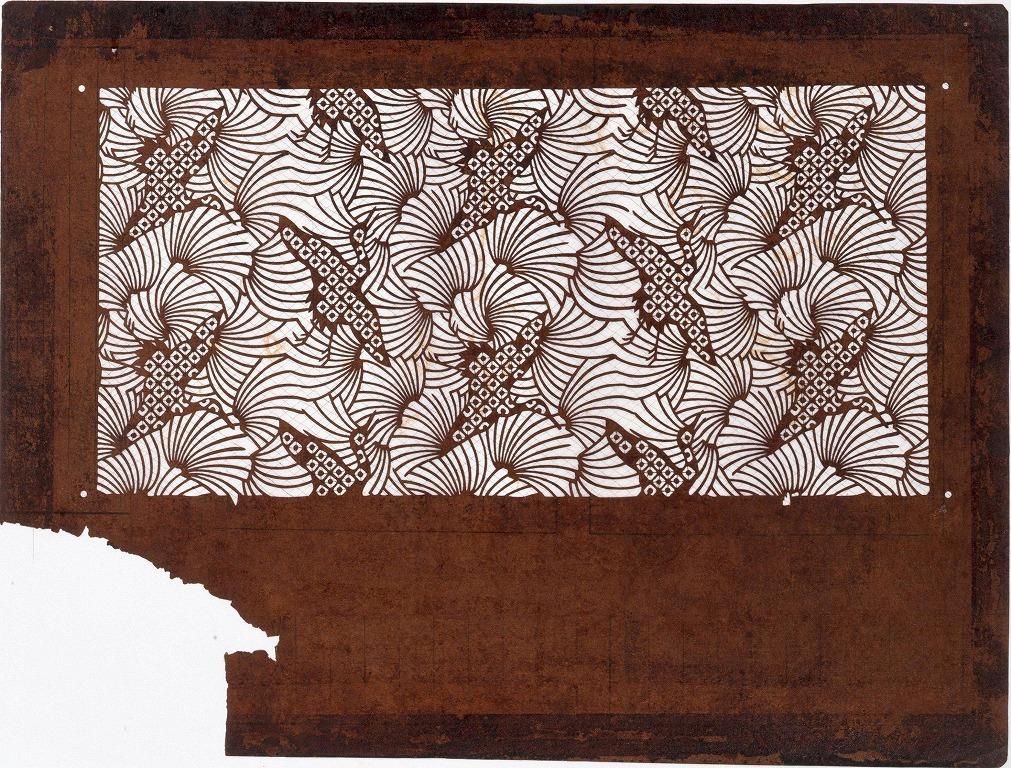 作品画像:長板中形型紙 鹿の子 鶴