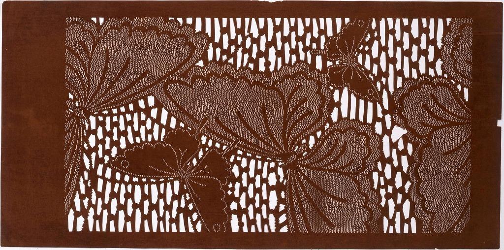 作品画像:長板中形型紙 蝶(大判 追掛)
