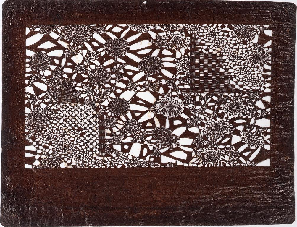 作品画像:長板中形型紙 菊にそで垣 (小判 追掛)