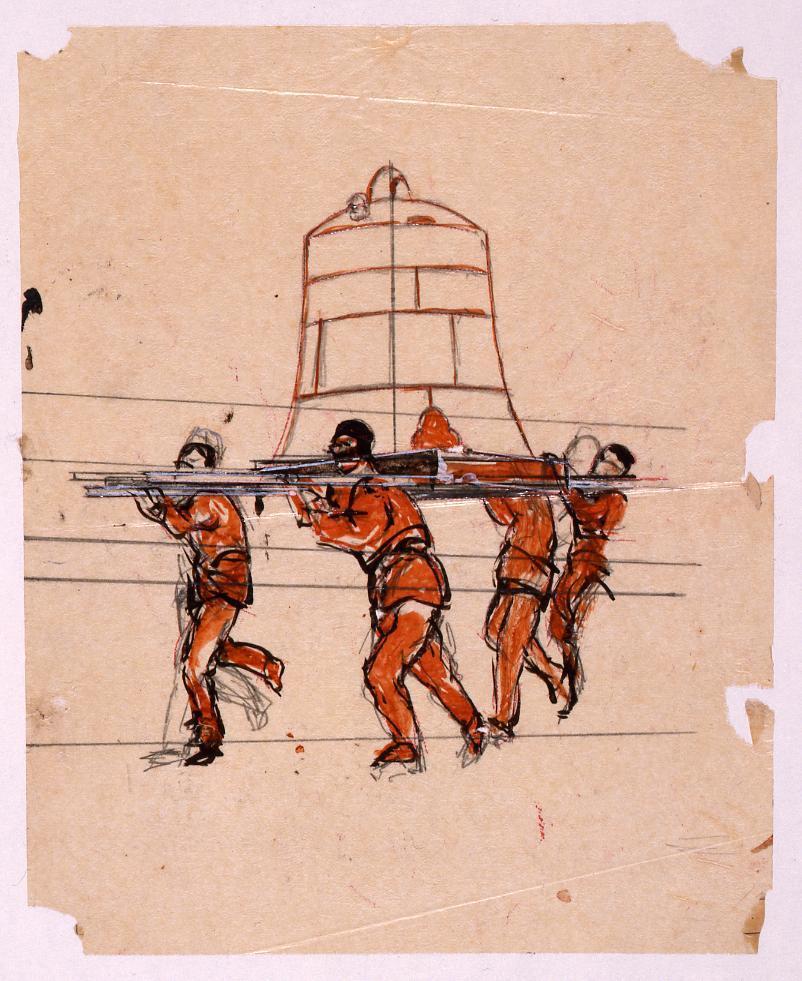 作品画像:下絵 「振天府」(梵鐘を運ぶ人物)