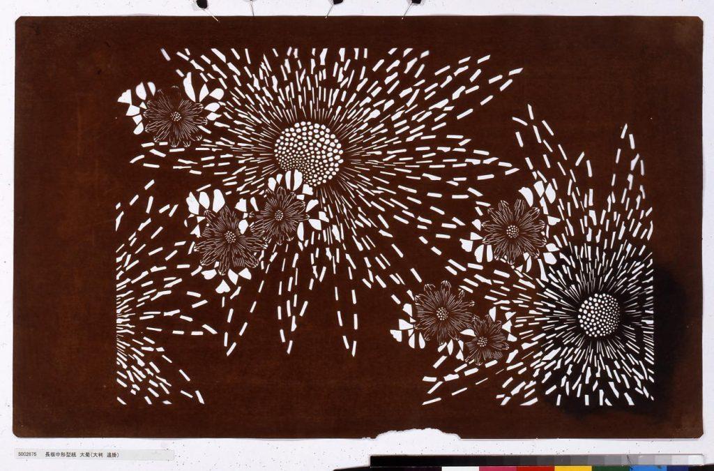 作品画像:長板中形型紙 大菊(大判 追掛)