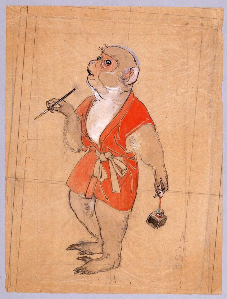作品画像:下図 インキ壷を提げた猿
