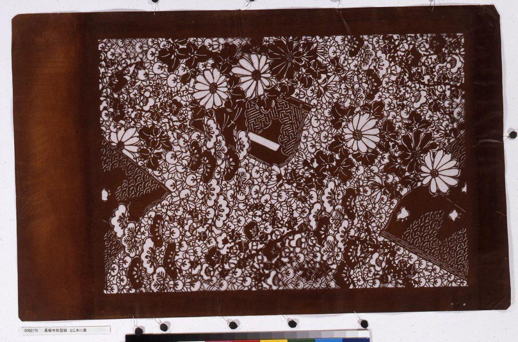 作品画像:長板中形型紙 とじ本に菊