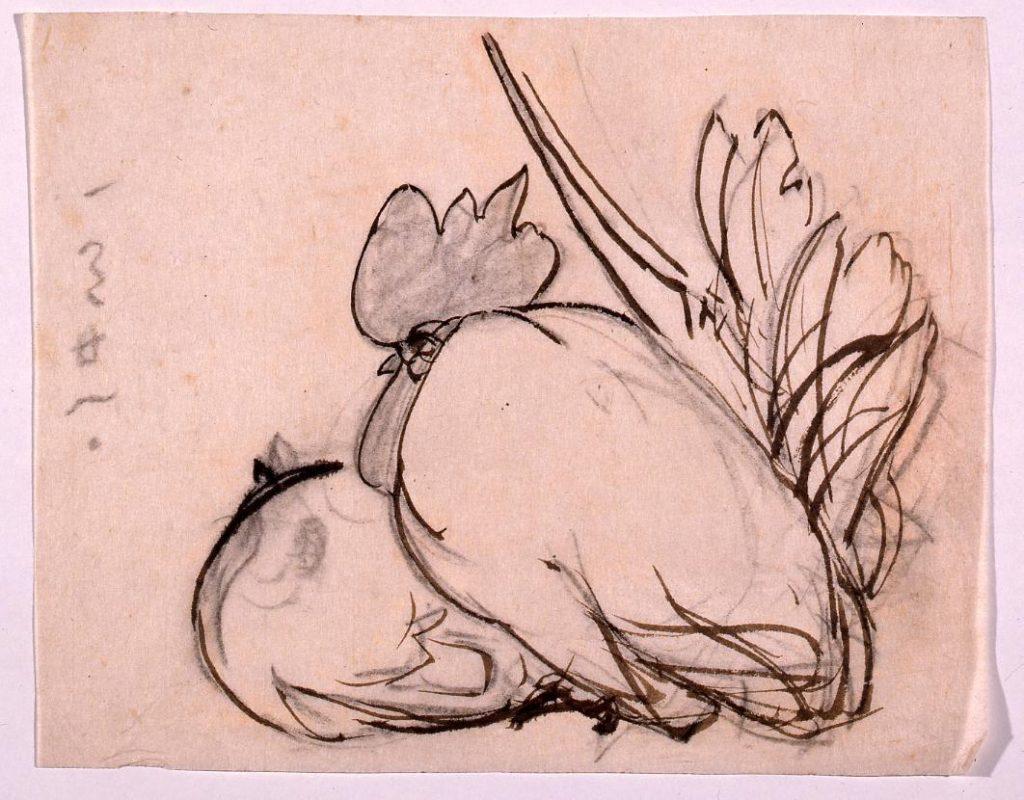 作品画像:下絵  双鶏