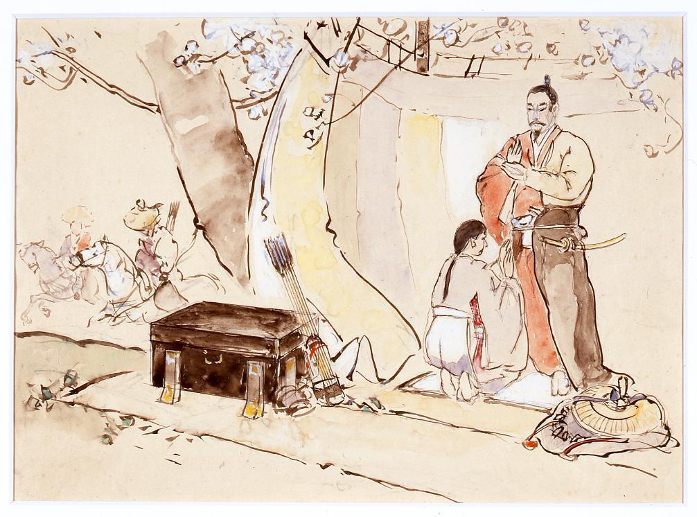 作品画像:下絵 塚原律子「武士が流鏑馬の射手の装を附け居る図」