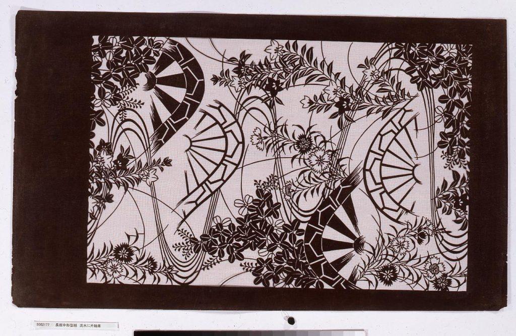 作品画像:長板中形型紙 流水に片輪車