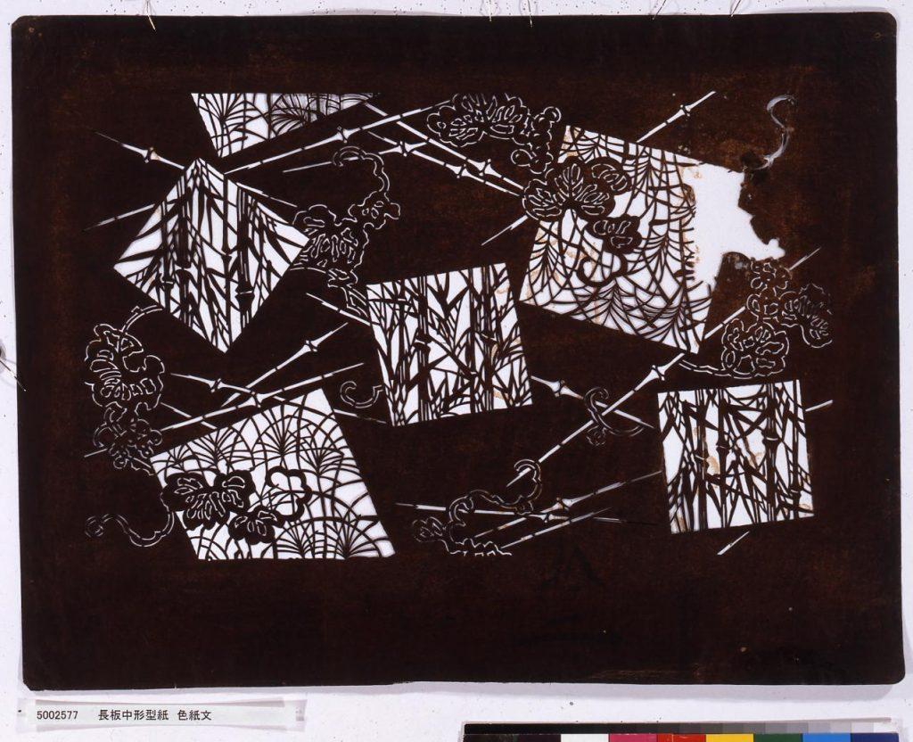 作品画像:長板中形型紙 色紙文