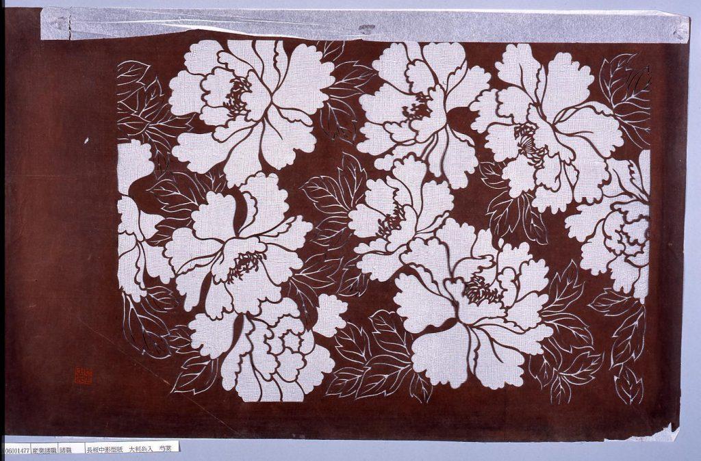 作品画像:長板中形型紙 大判糸入 芍薬