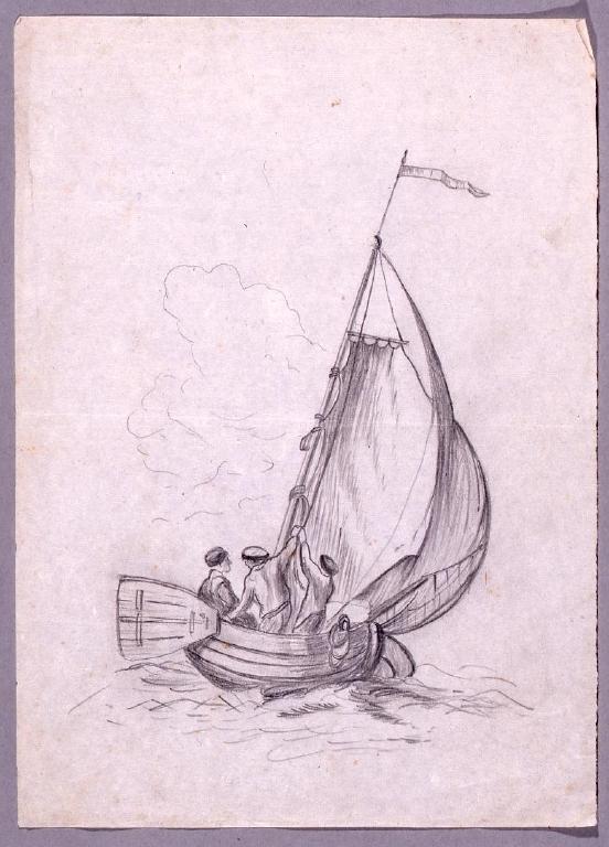 作品画像:素描  海上のヨット