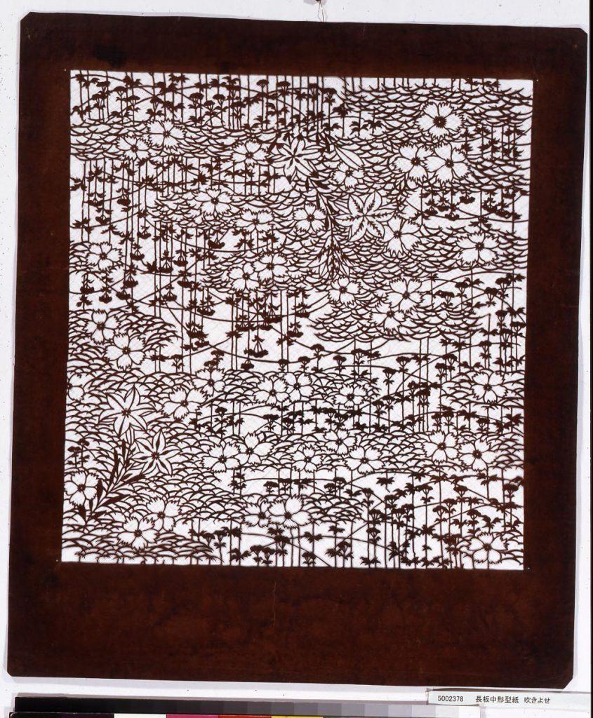 作品画像:長板中形型紙 吹きよせ