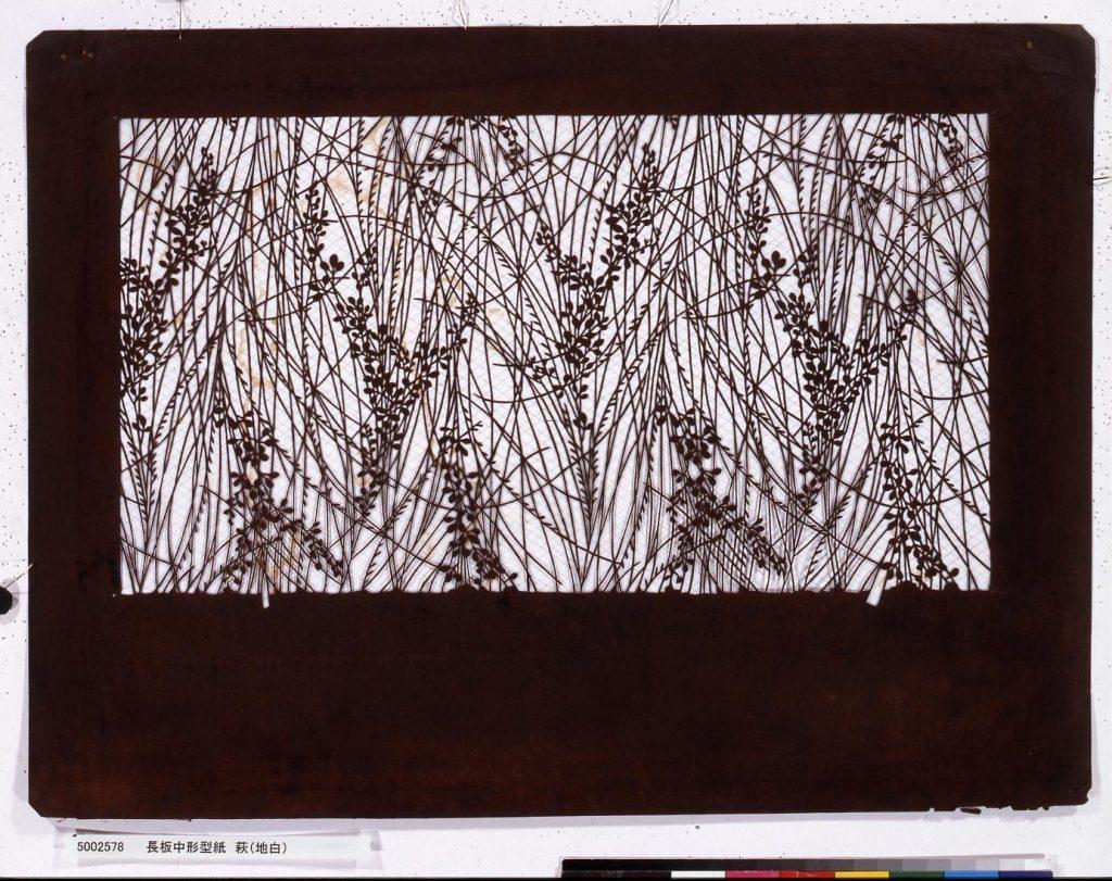 作品画像:長板中形型紙 萩(地白)