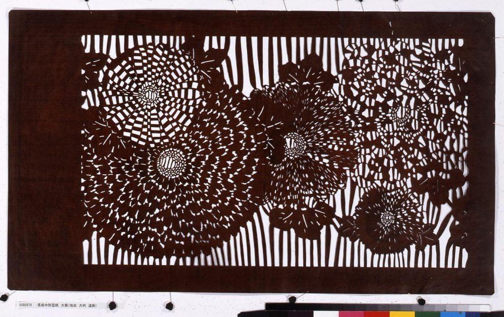 作品画像:長板中形型紙 大菊(地白 大判 追掛)
