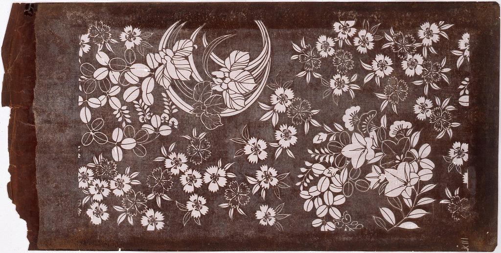 作品画像:長板中形型紙 花丸に撫子
