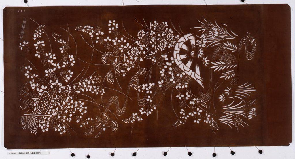 作品画像:長板中形型紙 片輪車に草花