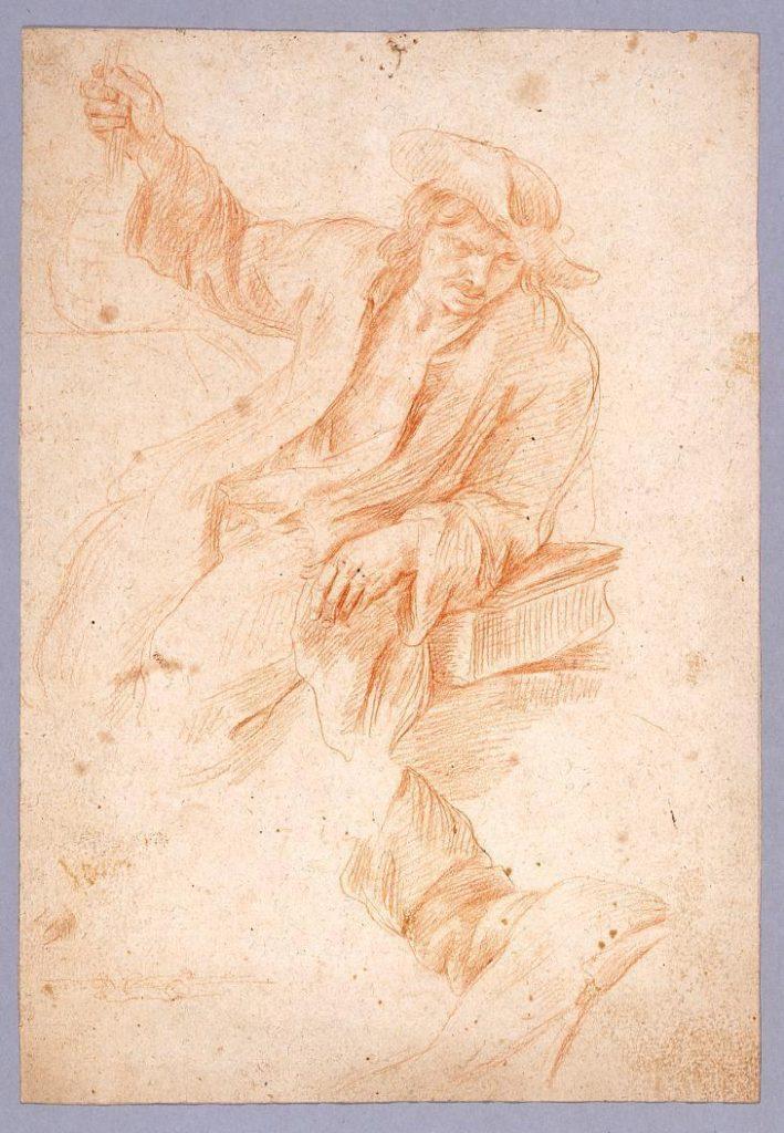 作品画像:素描 帽子をかぶる男/人物