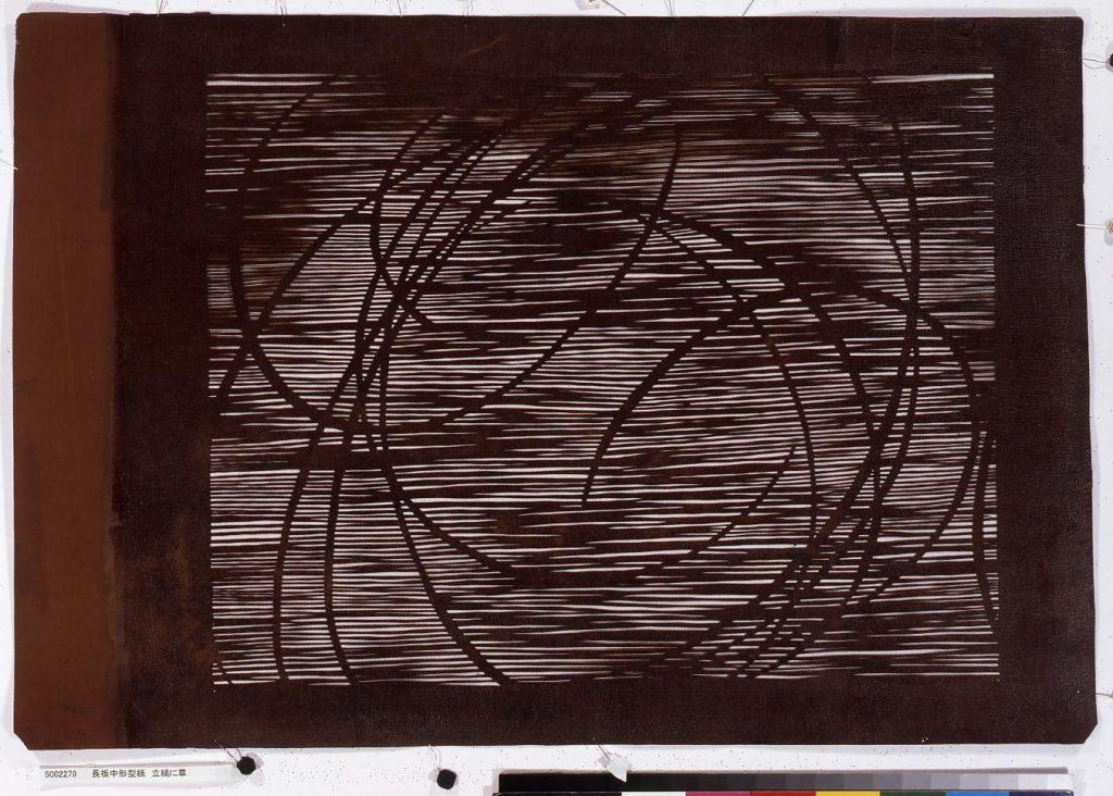 作品画像:長板中形型紙 立縞に草