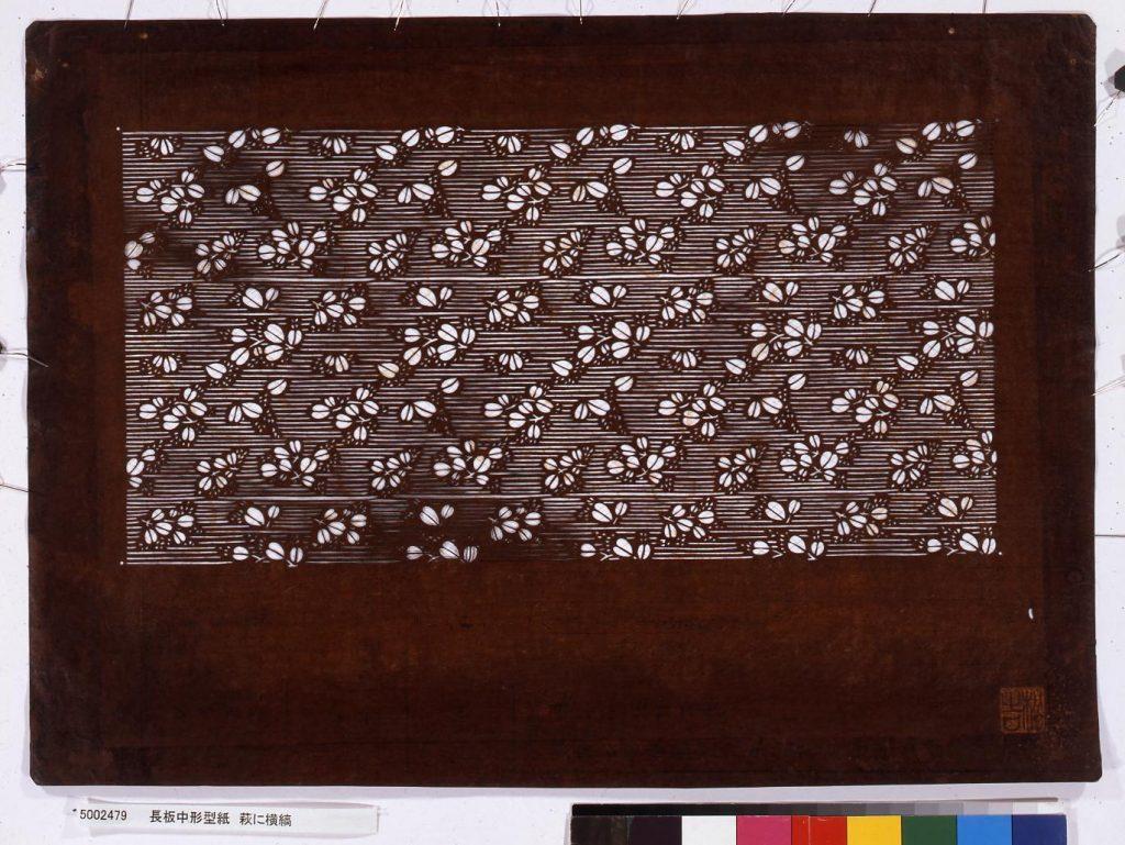 作品画像:長板中形型紙 萩に横縞
