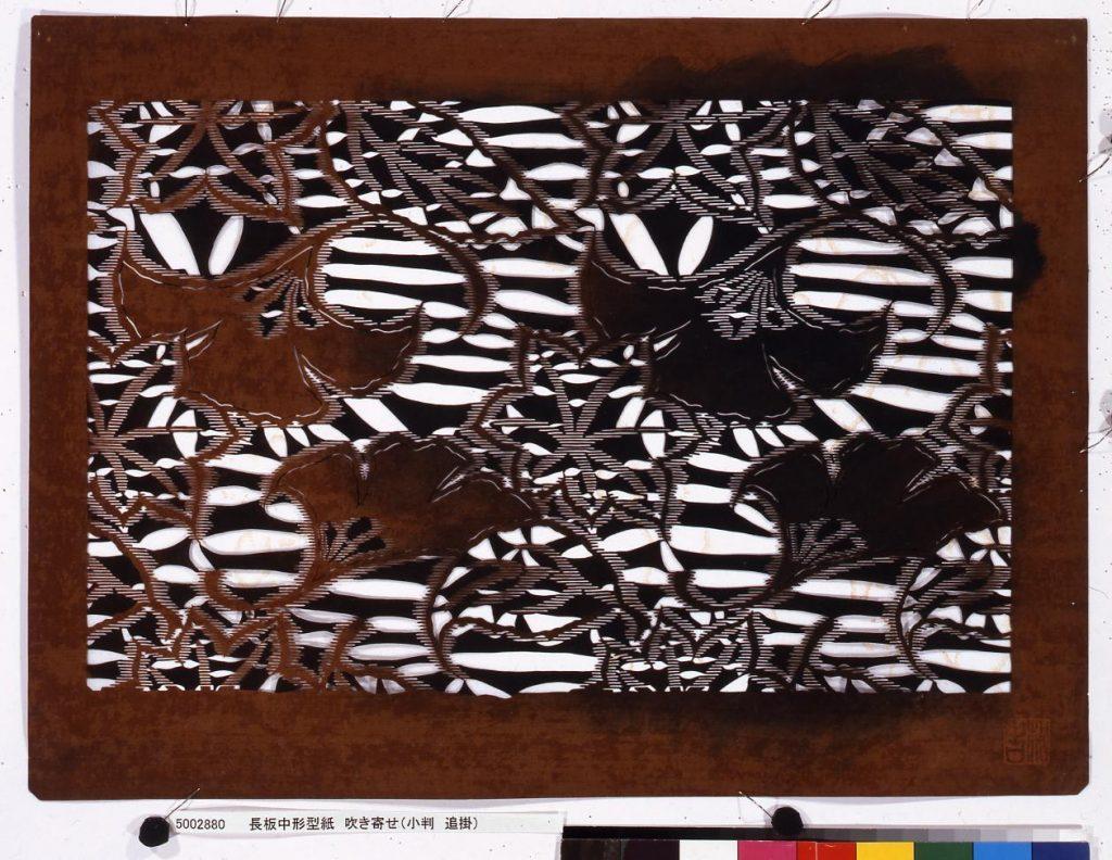 作品画像:長板中形型紙 吹き寄せ(小判 追掛)