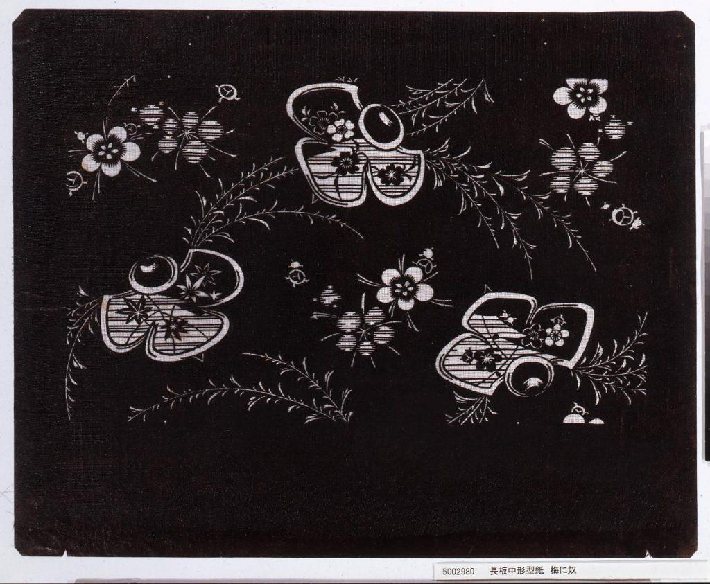 作品画像:長板中形型紙 梅に奴