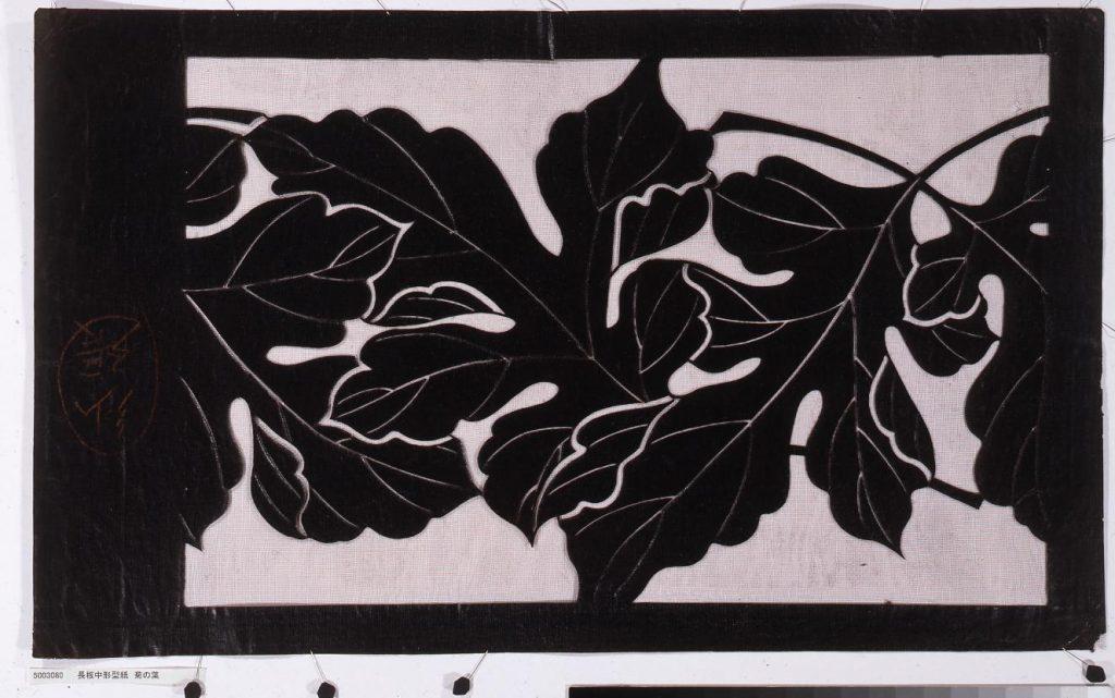 作品画像:長板中形型紙 菊の葉