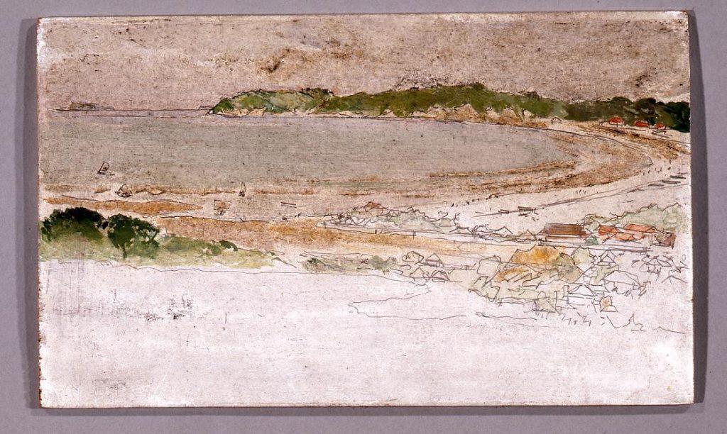 風景 「徳川公爵別邸内から見下ろす逗子海岸」